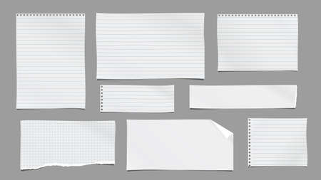White, lined, squared torn note, notebook paper are on dark grey background for text, advertising or design. Vector illustration