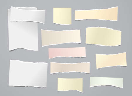 White and yellow torn note, notebook paper stripes are on grey background for text, advertising or design. Vector illustration Vektorgrafik