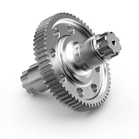 Gear-shaft on white background, 3D rendering.
