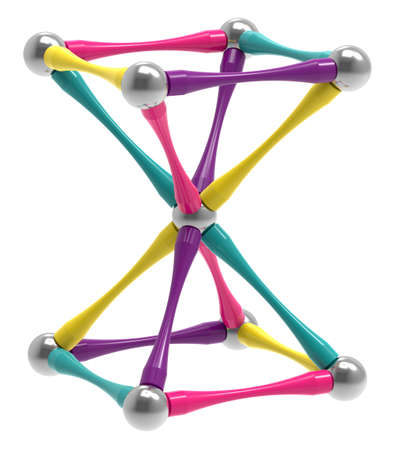 Children's magnetic toy with steel balls in the form of a hourglass, inverted pyramid. Children's sensory games, activity, creativity concept. 3D rendering.