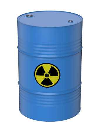 Barrel with waste, uranium, 3D illustration.