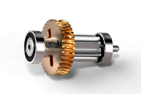 Gear-shaft with worm wheel on white background, 3d rendering.
