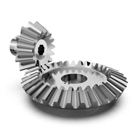 Bevel gear. Gear transmission rotation angle on white background. 3D rendering. 版權商用圖片