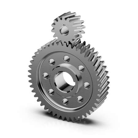 Helical bevel gear. Noiseless gear on white background. 3D rendering