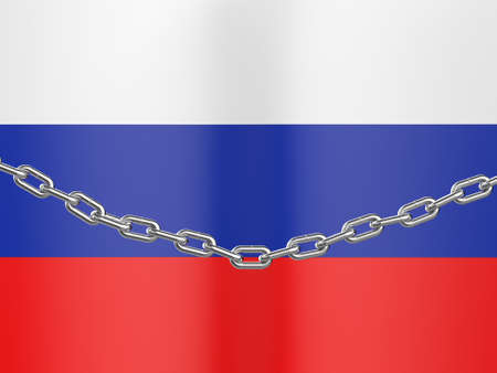 Russia is under sanctions. The flag of Russia is behind the chain. 3D Rendering.