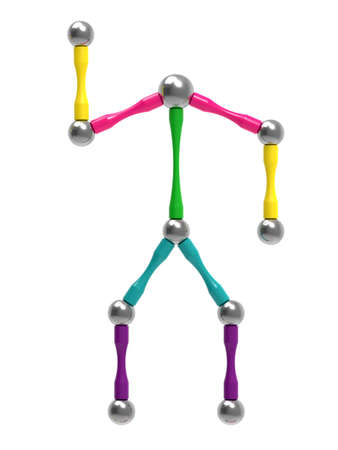 Picture of a toy man with arms raised. Children's magnetic toy. 3D rendering. 版權商用圖片