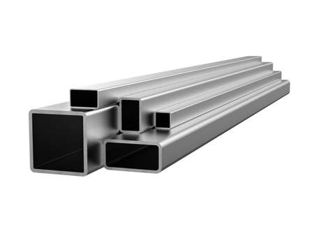 Rolled metal products. Galvanized steel tube. 3d illustration