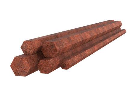 Galvanized steel channel. Stack of rusty hexagonal profile. 3d illustration Stockfoto