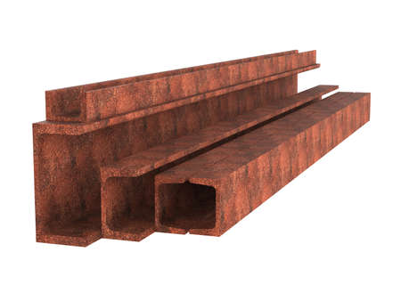 Stack of rusted channels. Metal products. 3d illustration