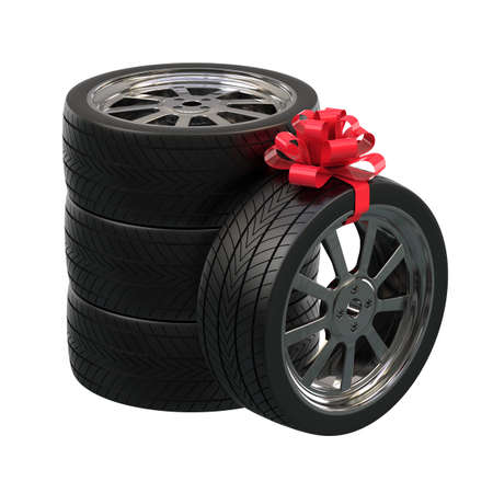 Automobile wheels as a gift. Wheels tied with a gift ribbon. 3D illustration