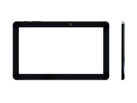 Electronic Tablet in two angles on white background. 3D rendering.