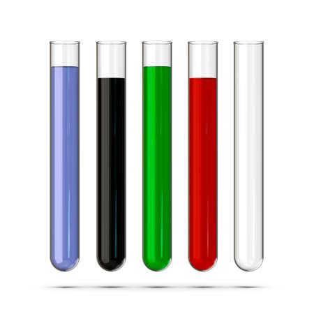 A set of test tubes with liquids on white background. 3D rendering