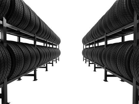 Autobanden gestapeld in rijen op planken geïsoleerd op een witte achtergrond. 3D-afbeelding.