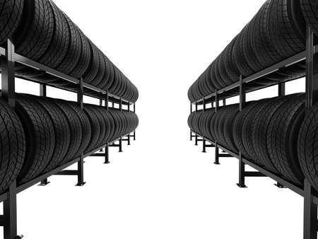Car tires stacked in rows on shelves isolated on white background. 3d illustration.