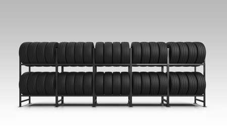 Car tire shop. Car tires on rack isolated on gradient background. 3d illustration.