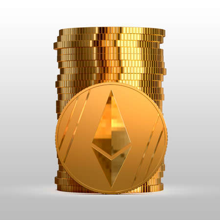 A stack of gold coins. Cryptocurrency ethereum. Electronic money. 3d illustration.