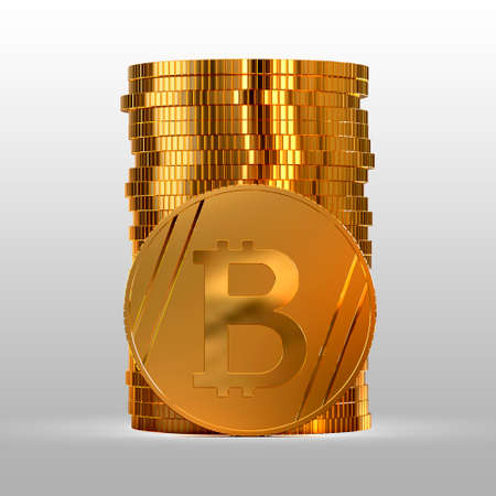 A stack of gold coins. Cryptocurrency bitcoin. Electronic money. 3d illustration.