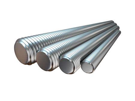 Gewindebolzen aus verzinktem Stahl. Walzprodukte aus Metall. 3D-Darstellung