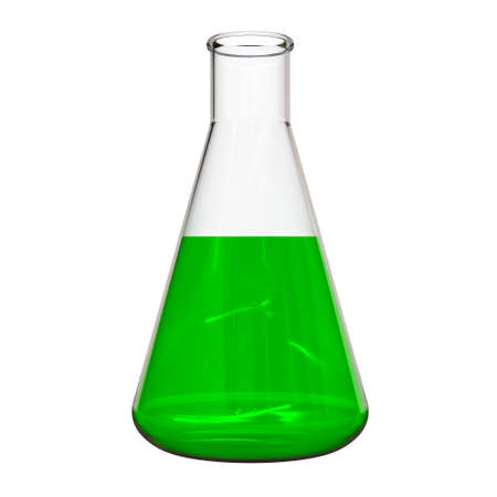 Medical flask with green liquid, animal experiment. 3D Illustration.