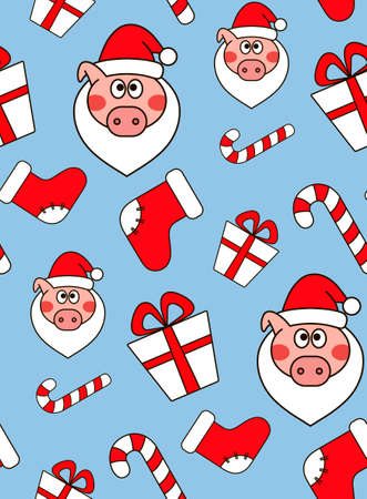 Christmas seamless pattern. New year vector design. Wrapping paper for Christmas gift boxes. Christmas pig Illustration