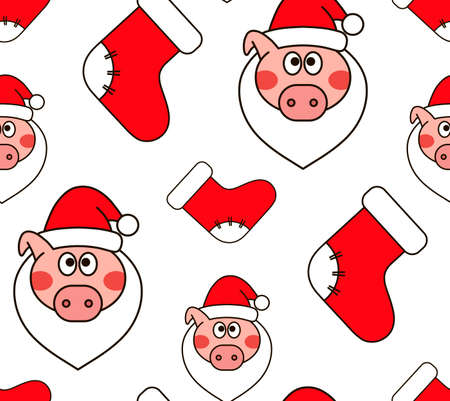 Christmas seamless pattern. New year vector design. Wrapping paper for Christmas gift boxes. New Years pig Illustration