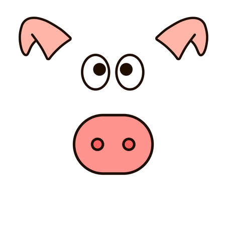 New year vector design. Pig face. Icon for web.