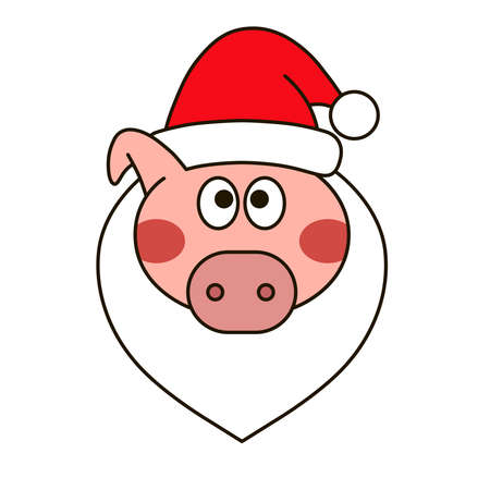 New year vector design. Christmas pig face. Icon for web.