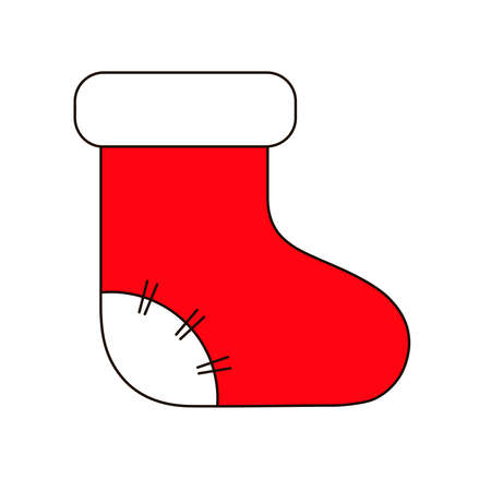 New year vector design. Christmas sock. Icon for web.