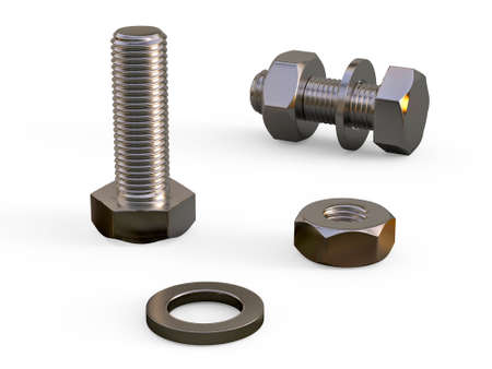 Mounting kit. A set of metal fasteners. Teaching image of threaded fasteners from the bolt nuts and washers. 3D Illustration.