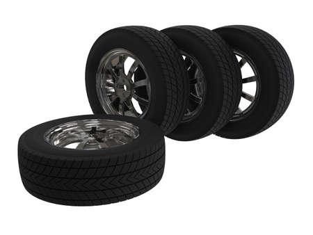 Set of car wheels on alloy wheels. 3D illustration.