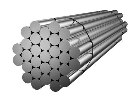 Stack of galvanized steel circle. Metal products. 3d illustration Stockfoto