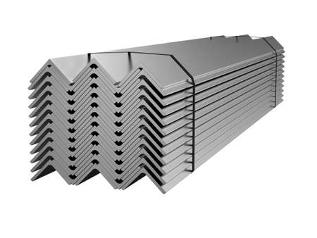 Galvanized steel corner. Sale of rolled metal products. 3d rendering