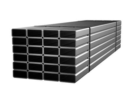 Galvanized steel rectangular pipe. Sale of rolled metal products. 3d rendering Stockfoto