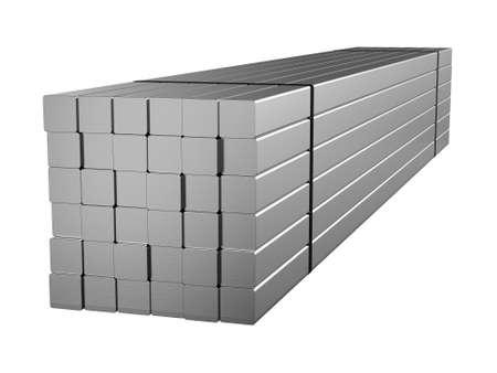 Galvanized steel round bar. Metal products. 3d illustration