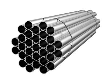 Galvanized steel circle pipe. Metal products. 3d illustration Stockfoto