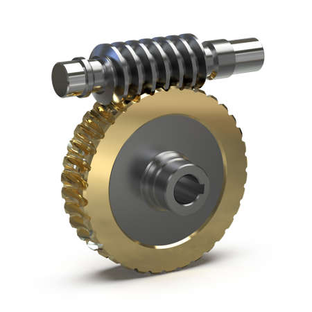 Training image of the worm gear assembly, 3d illustration