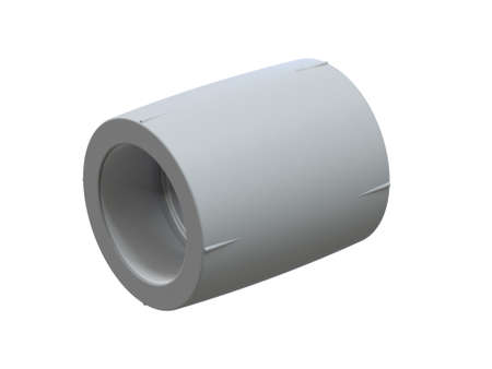 Connecting coupling for polypropylene pipes. Image for advertising plumbing fittings. 3D Illustration