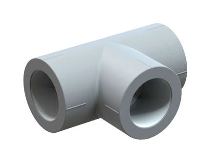 Tee for polypropylene pipes. Image for advertising plumbing fittings. 3D Illustration