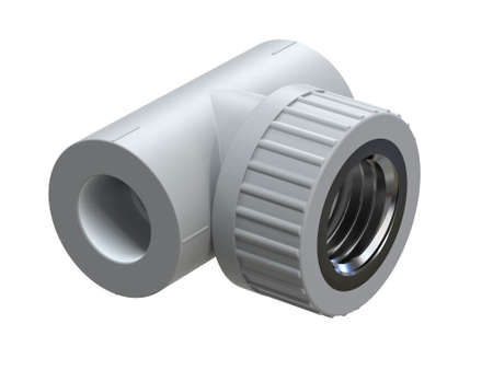 Tee with threaded bushing for polypropylene pipes. Image for advertising plumbing fittings. 3D Illustration Stock Photo