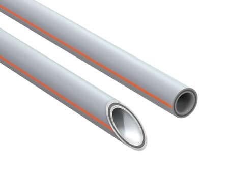 Reinforced polypropylene pipe. Image for advertising plumbing fittings. 3D Illustration