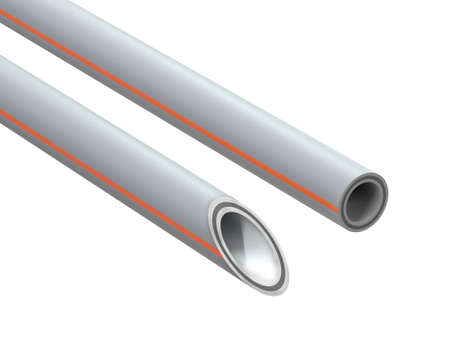 Reinforced polypropylene pipe. Image for advertising plumbing fittings. 3D Illustration