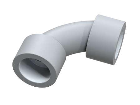 Corner 90 degrees for polypropylene pipes. Image for advertising plumbing fittings. 3D Illustration