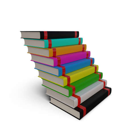 Stack of books isolated on white background. The concept of self-development. 3D Rendering