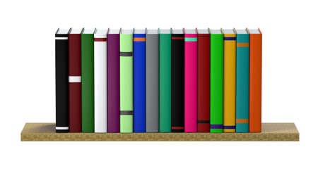 Multi-colored books on the shelf. The concept of personal growth. Home library. 3D Illustration