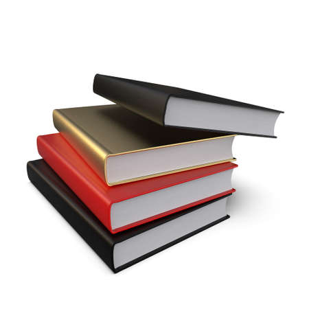 Stack of books isolated on white background. The concept of self-development. Preparation for the designer. 3D Illustration Фото со стока