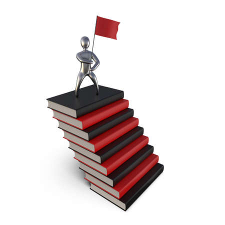 Image of a successful man on a mountain of books. Statuette of the winner on the road to success. The concept of personal growth. 3D Illustration