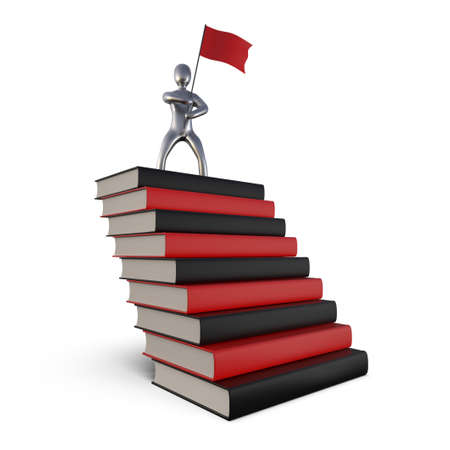 Image of a successful man on a mountain of books. Statuette of the winner on the road to success. The concept of personal growth. 3D Rendering.