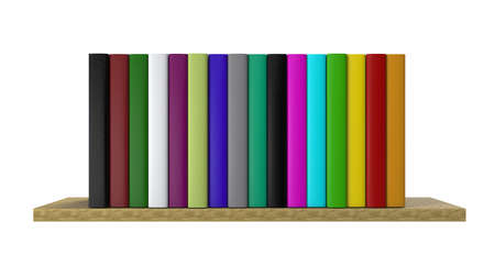 Multi-colored books on the shelf. Home library. 3D Rendering