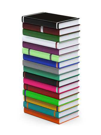 Stack of books isolated on white background. The concept of self-development. Preparation for the designer. 3D Illustration Stock Photo