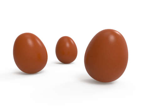 Easter eggs isolated on white background. The natural color of village eggs. Preparation for the designer. 3D rendering